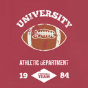 University football athletic dept. - Vintage print for sportswear apparel in custom colors