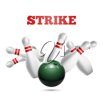 Scattered skittle and bowling ball. Vector illustration