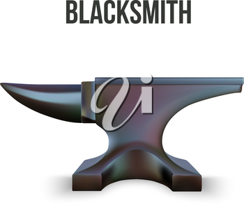 Iron Anvil isolated on white background. Vector Illustration
