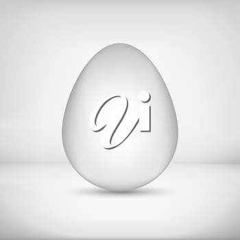 White grayscale chicken egg with white background