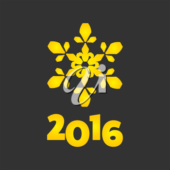 New Year 2016 golden sign with snowflake