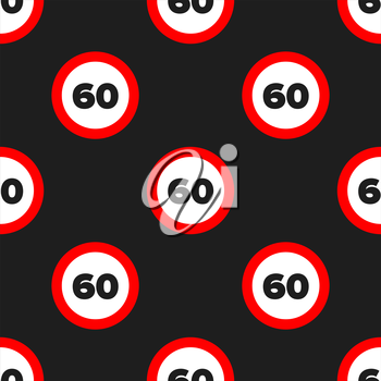 Seamless road sign pattern on a black background