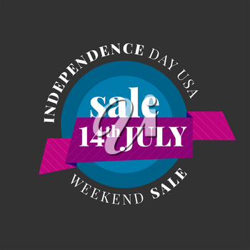 USA Independence day sale. Circle vector banner on the black background
