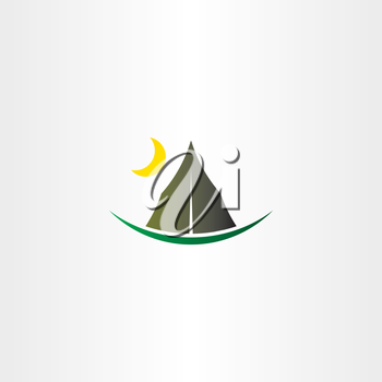 camping tent and moon vector icon design