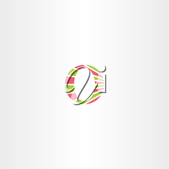 green red o letter o icon element vector