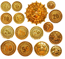 Gold coins and medallion with skull and crossed bones isolated