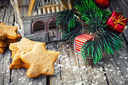 Postcard with Christmas biscuits,pine cones and Christmas ornaments