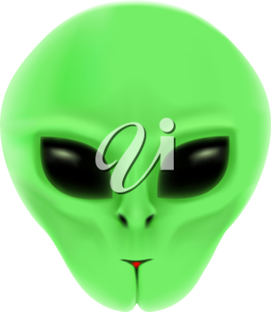 The alien with green face and black eyes isolated on white background