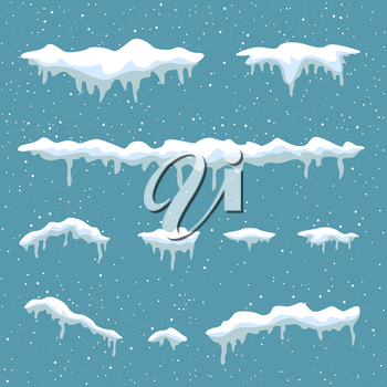 Winter snowdrift on blue background. Snow cap element. Cartoon ice and icicle. Christmas and New Year template