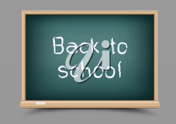 Education school green chalkboard with shadow on gray background. Blackboard template and chalk write message back to school
