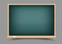 Empty education school green chalkboard with shadow on gray background. Blackboard template for chalk write or draw