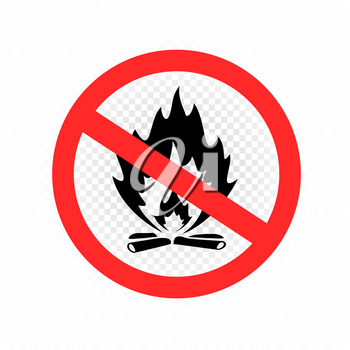 Do not make camp fire sign icon on white transparent background. Forbidden burn bonfire symbol