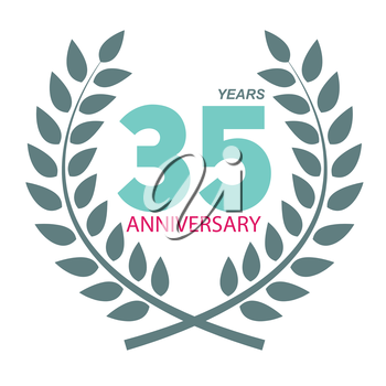 Template Logo 35 Anniversary in Laurel Wreath Vector Illustration EPS10