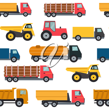 Truck Cars Seamless Pattern Background Vector Illustration EPS10