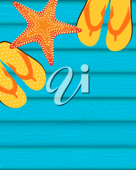 Sandals and Starfish Summer Background. Vector Illustration