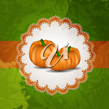 Orange Pumpkin on Green Background Vector Illustration. EPS10