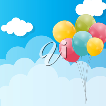 Color Glossy Balloons Against Blu Sky Background Vector Illustration. EPS10