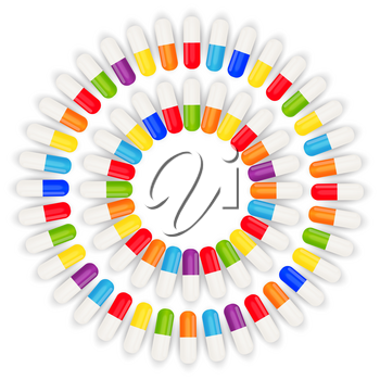 Health Medical  Background with Pills. Vector Illustration EPS10