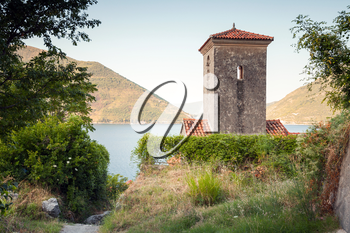 Bell tower of ancient Orthodox Church. Perast. Montenegro