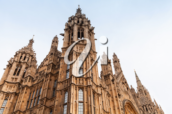Parliament of the United Kingdom, London. Fragment of facade in Gothic style