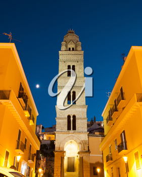 Bell tower of the Cathedral Basilica of Gaeta at night, one of the most popular city landmark