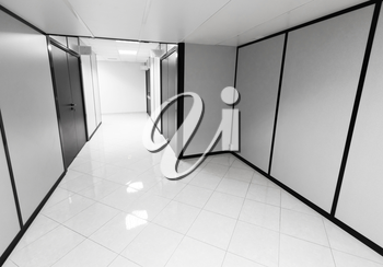 Abstract empty office interior with white walls and black details
