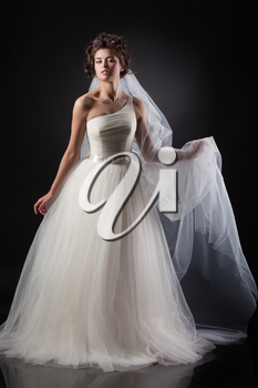 Young beautiful woman in a wedding dress on a black background