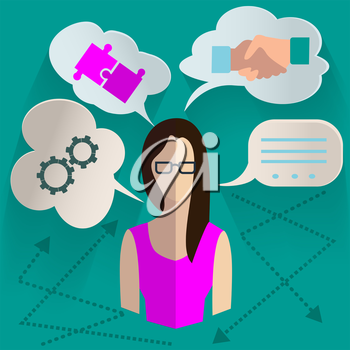 Set of design elements for infographics, woman with the idea of looking for options for its realization with clouds thoughts above her head. Vector Illustration