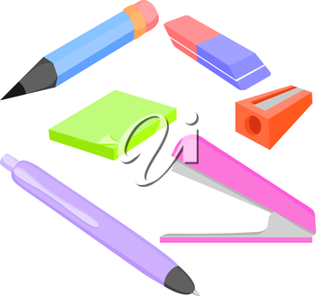 Vector set of colored accessories for office and school pencil, Stapler, pencil sharpener. Vector illustration
