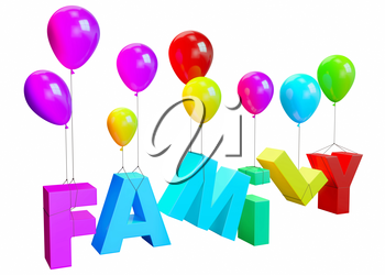 Family sign hanging off the balloons. Perspective view