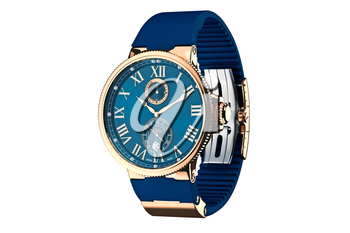 Wrist watch modern gold classic accessory. 3D graphic