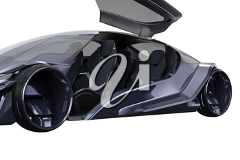 Car concept dark futuristic conceptual innovation, close view. 3D rendering