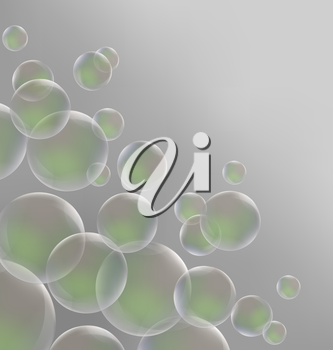 Transparent green soap bubbles on grayscale background