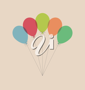Vintage multicolor balloons isolated on beige background