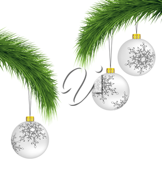 White Christmas balls on pine branches isolated on white background