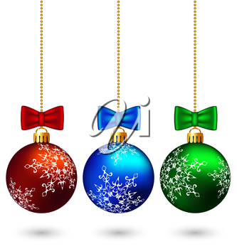 Three multicolored christmas balls with bows hang on the chain isolated on white background