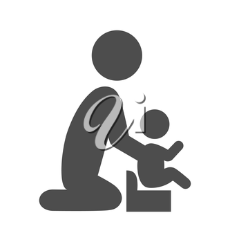 Parent potty baby pictogram flat icon isolated on white background
