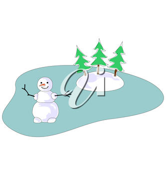 Snowman on Frozen Lake with Three Tree Isolated on White Background