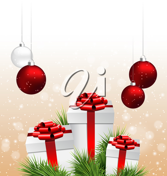 Three grayscale gift boxes with red bows, pine branches and Christmas balls in snowfall on beige background