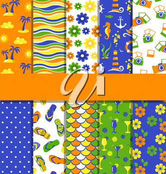 Set of 10 seamless bright fun summer patterns