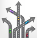 Roads Arrows Travel Background with Cars on White Background