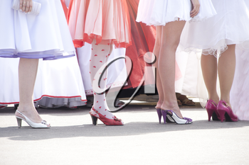 Bridesmaids in a row on retro wedding