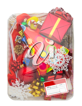 Wrapped plastic white food container with colorful gifts box and blank label isolated