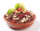Cocoa-flavored puffed grain breakfast cereal with almonds and dried cranberries