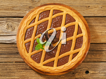 Lattice topped chocolate tart - overhead