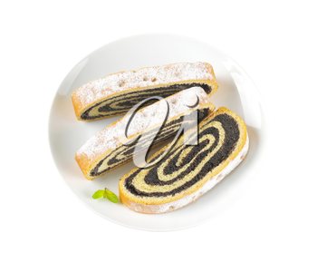 roll of sweet yeast bread filled with poppy seed paste
