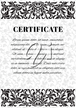 Template for creating a certificate. Decoration and background of vintage tracery