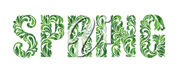 SPRING. Decorative Font with swirls and floral elements isolated on a white background