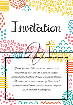 Invitation card. Hand drawn lettering. Background with abstract hand drawn textures.