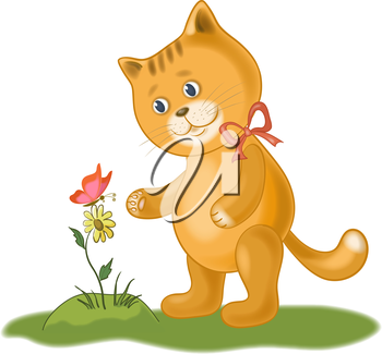 Cartoon cat, flower and butterfly, isolated on white background. Eps10, contains transparencies. Vector